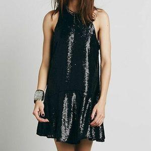 Free People Black Liquid Shine Sequin Dress